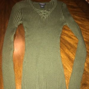 Lace up Ribbed Olive Sweater